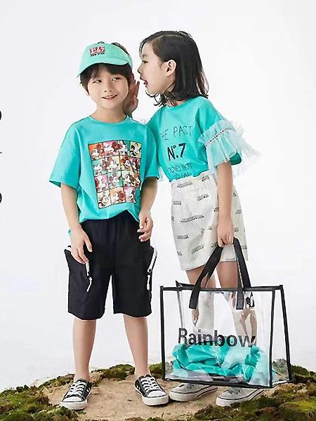 中启服饰童装品牌2021夏季蓝色T恤