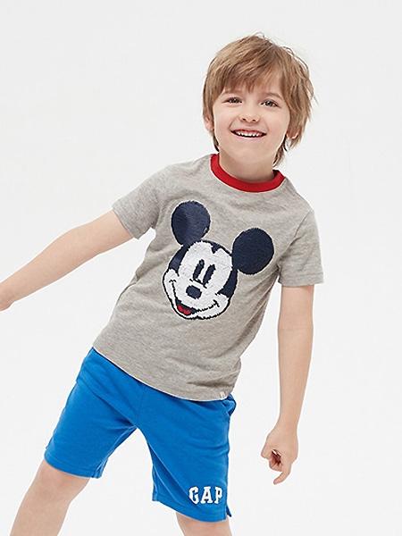 中启服饰童装品牌2021夏季米老鼠图案中性T恤