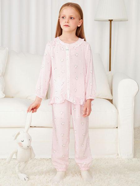 安奈儿童装品牌2021春夏印花粉色长袖睡衣