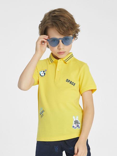 安奈儿童装品牌2021春夏帅气黄色POLO衫