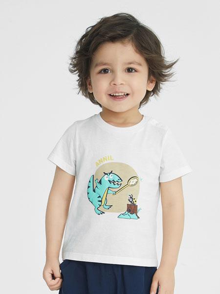 安奈儿童装品牌2021春夏恐龙图案T恤