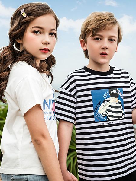 JOJOBO啾比乐童装品牌2021春夏条纹弹力T恤