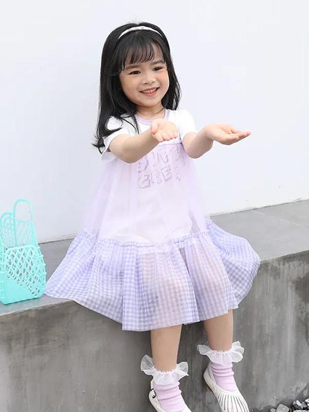 唐机豆豆童装品牌2021夏季休闲紫色薄纱拼接连衣裙