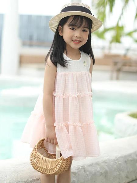 唐机豆豆童装品牌2021夏季宽松粉色无袖连衣裙