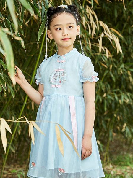 水孩儿souhait童装品牌2021夏季中国风纯色半袖连衣裙