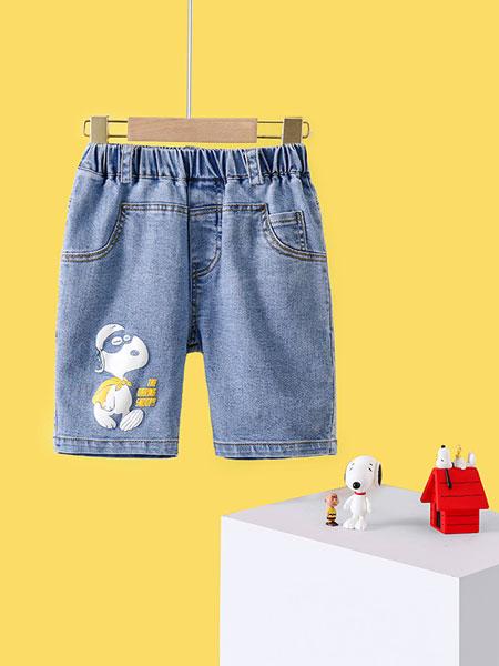 史努比/凯蒂猫/小叮当/迪士尼童装品牌2021夏季牛仔中裤宝宝韩版裤子