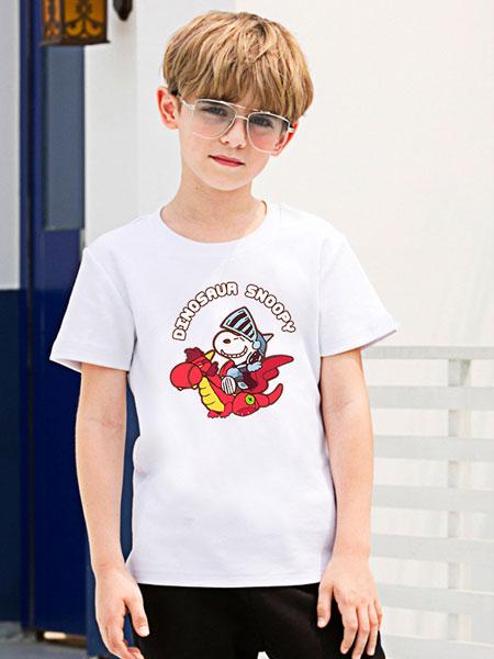 史努比/凯蒂猫/小叮当/迪士尼童装品牌2021夏季纯棉男童短袖T恤简约白色半袖女童体恤潮