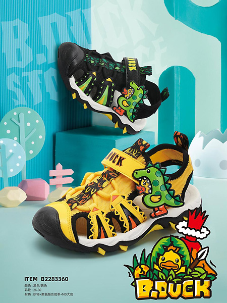 小黄鸭/米6童装品牌2021夏季恐龙图案可爱潮童护脚鞋