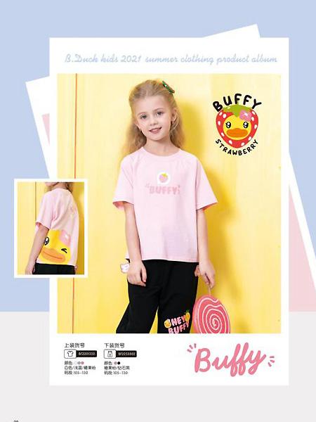 小黄鸭/米6童装品牌2021夏粉色原宿风T恤