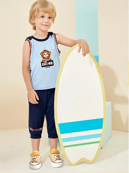 小伙猴童装品牌2021夏季运动无袖上衣