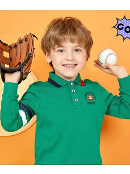 小伙猴童装品牌2021夏季绿色森系POLO衫