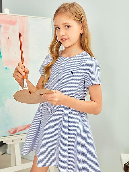 童装品牌2021夏蓝色条纹连衣裙
