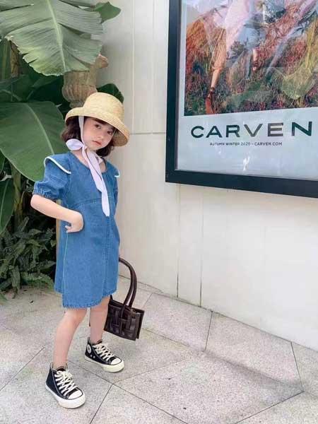 衣黛童装集合店童装品牌2021夏季小清新蓝色连体裙