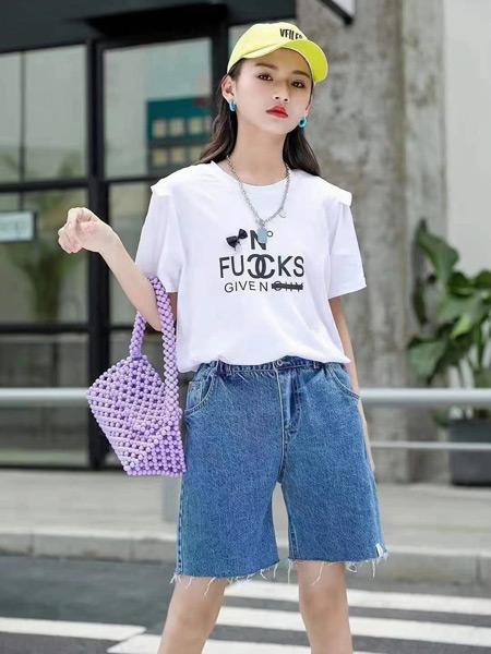 衣黛童装集合店童装品牌2021夏季新款女童T恤半袖薄款
