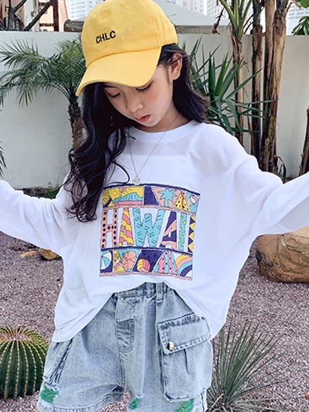 IXIT童装品牌2021夏季季冰丝长袖T恤薄款短款套装