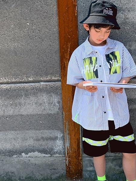 IXIT童装品牌2021夏季条纹短袖衬衫薄款短款套装