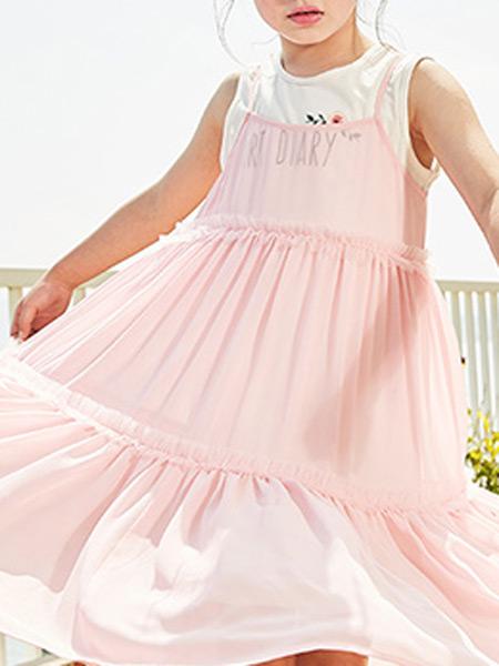 智比兔童装品牌2021秋季新款童装女童绣花裙儿童公主裙大童裙子