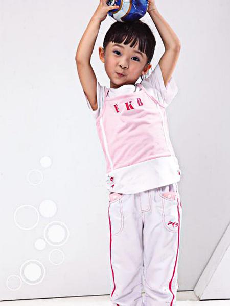 FKB童装童装品牌2021夏季英文字母粉色上衣运动装