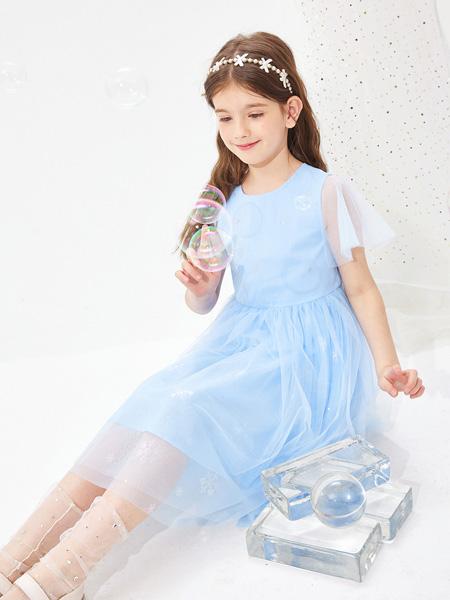昕季雨童装品牌2021夏季蓝色小公主纱纱裙