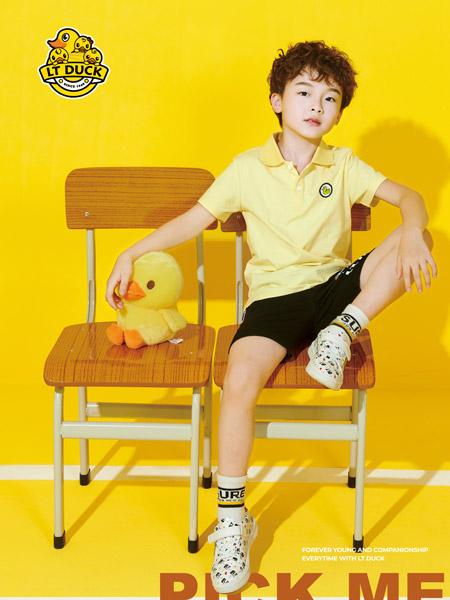 小黄鸭童装品牌2021夏季徽章T恤短裤热裤