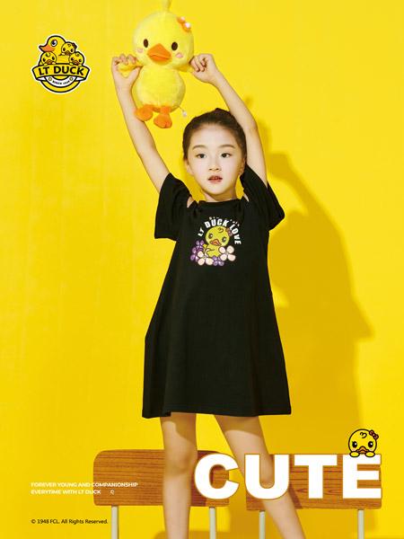 小黄鸭童装品牌2021夏季小黄鸭印花连衣裙