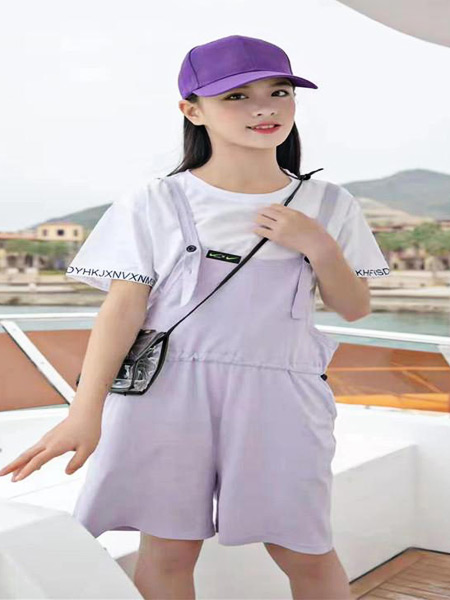 萌豆童装童装品牌2021夏季韩版白T恤吊带裤套装