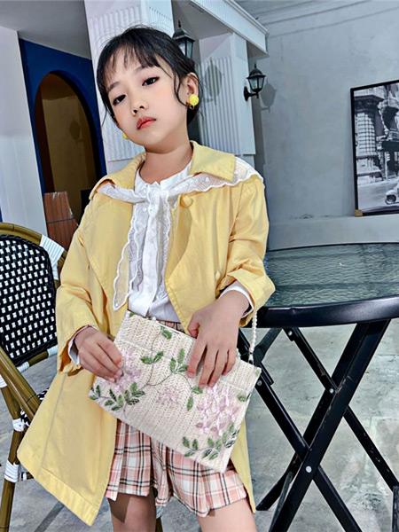 萌豆童装童装品牌2021夏季翻领薄款外套百褶裙套装