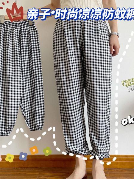 哇咔酷童装品牌2021夏季中小童沙滩灯笼裤薄款亲子时尚人棉防蚊裤
