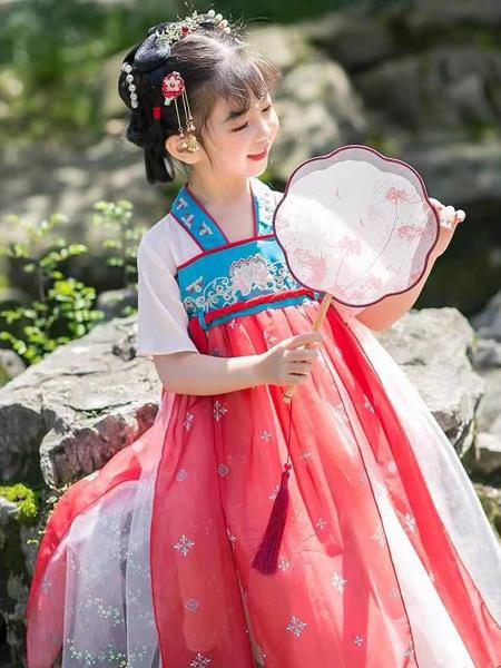 哇咔酷童装品牌2021夏季新款中小女童可爱古风绣花汉服飘带连衣纱裙