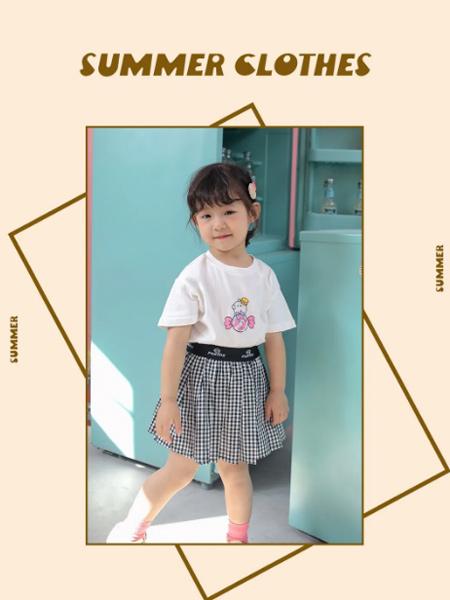 PEIQI Family童装品牌2021夏季卡通印花T恤格子条纹短裙