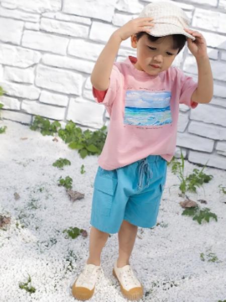 PEIQI Family童装品牌2021夏季蓝色宽松潮短裤裤