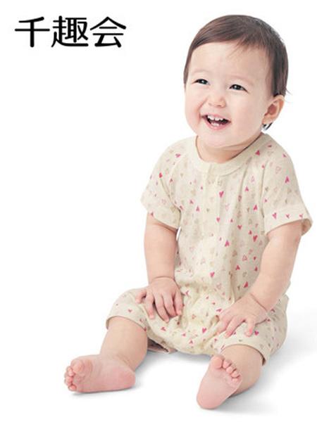 日本千趣会童装品牌2021春夏童哈衣前开式短袖平角款纯棉婴儿宝宝连体衣衣服
