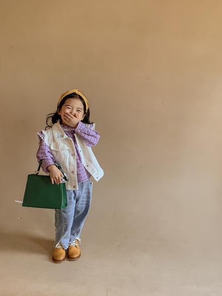 洛小米童装品牌2021秋冬紫色格子衬衫