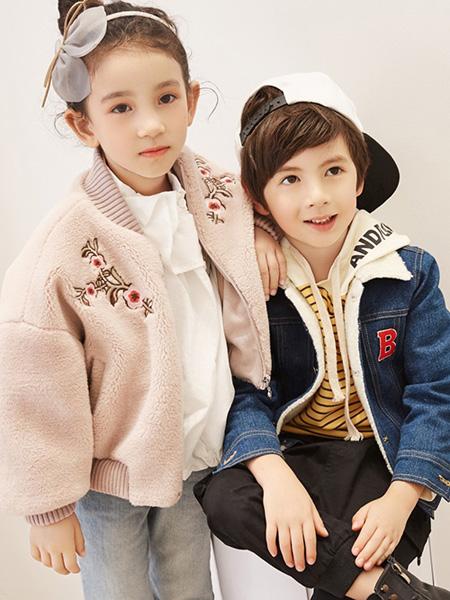 巴布豆童装品牌2021秋季刺绣印花羊毛衫外套