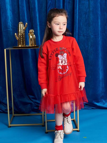 巴布豆童装品牌2021秋季卡通印画连衣裙