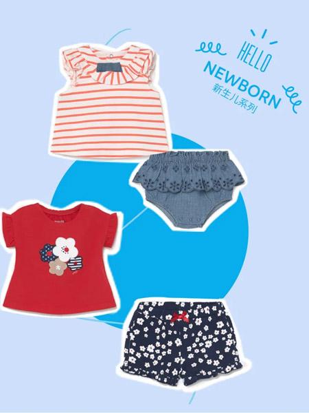 麦悠童装品牌2021夏季刺绣印画短袖套装