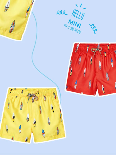 麦悠童装品牌2021夏季冲浪板印画游泳裤