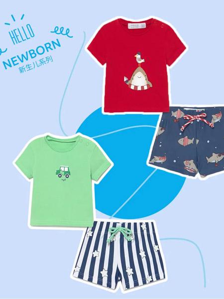 麦悠童装品牌2021夏季沙滩T恤套装