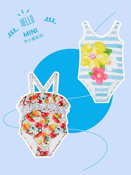 麦悠童装品牌2021夏季印画刺绣游泳连体衣