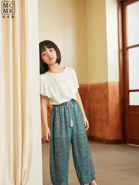MCMK玛卡西童装品牌2021春夏白色短袖刺绣T恤套装