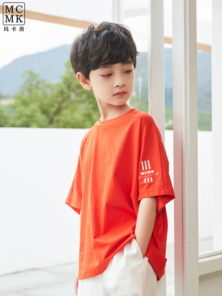 MCMK玛卡西童装品牌2021春夏纯色透气T恤