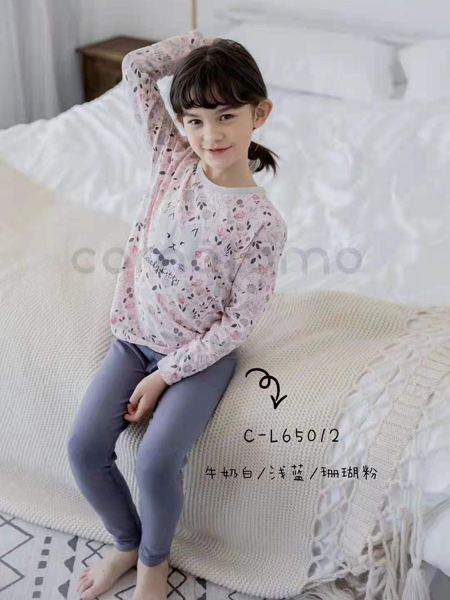 comotomo(O奈)童装品牌2021春夏刺绣印画睡衣套装