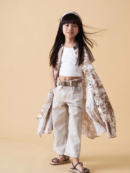 Brunello Cucinelli童装品牌2021春夏印画短袖长款透气外套