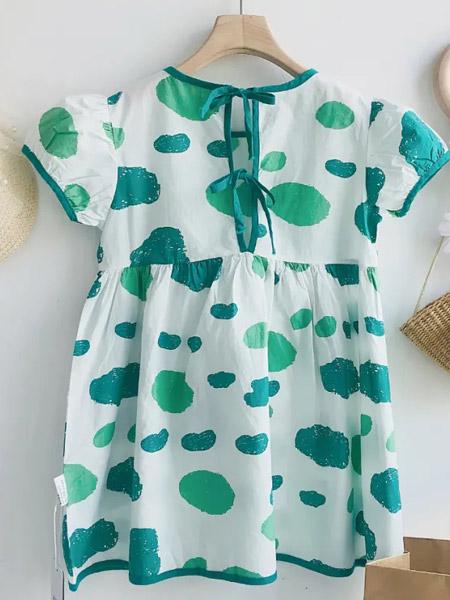 初羽Kids童装品牌2021夏季宽松甜美衬衫连衣裙