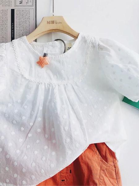 初羽Kids童装品牌2021夏季波点短袖透气上衣套装