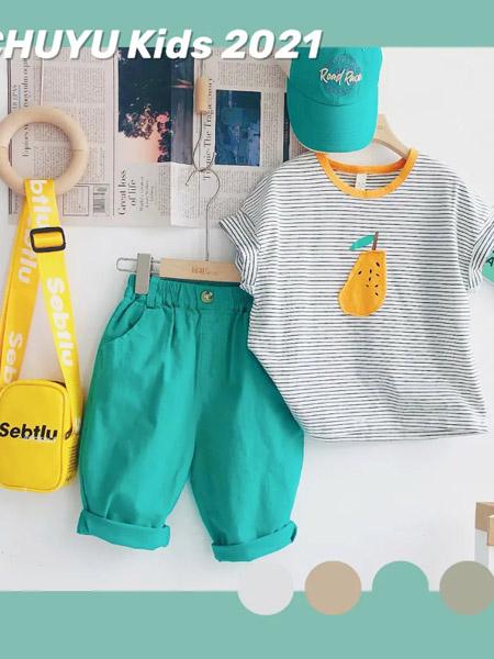初羽Kids童装品牌2021夏季潮流条纹刺绣套装