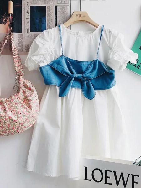 初羽Kids童装品牌2021夏季白色泡泡袖连衣裙