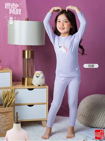 福也家童装品牌2021春夏浅紫色舒适透气睡衣套装