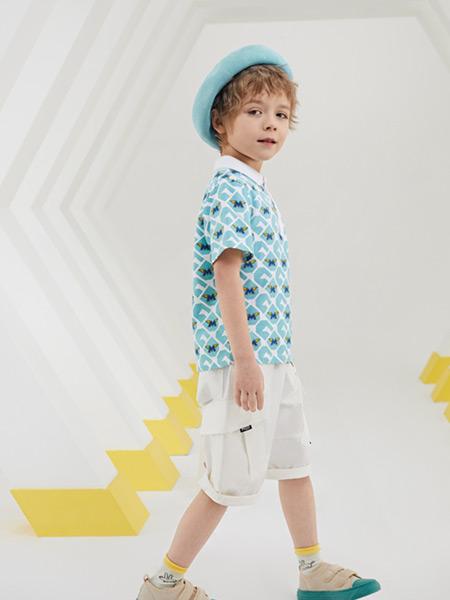 MQD童装品牌2021夏季印花翻领T恤套装