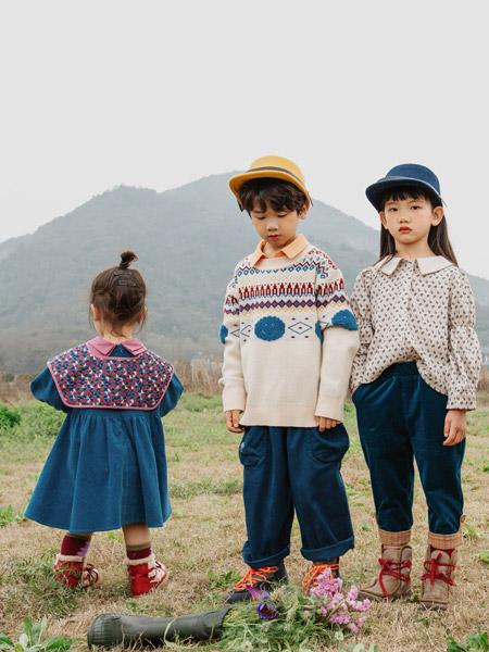 哈沐童装品牌2021秋季波点刺绣翻领上衣多款套装